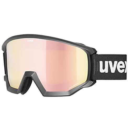 Uvex Unisex-Erwachsene Athletic CV Skibrille, Black mat/Rose-orange, one Size