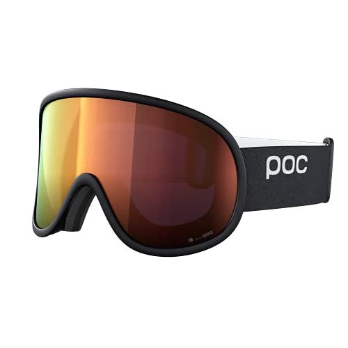 POC Retina Big Clarity - Große Skibrille mit zylindrischen Gläsern für hervorragendes Sichtfeld bei Wettkämpfen, Uranium Black/Spektris Orange