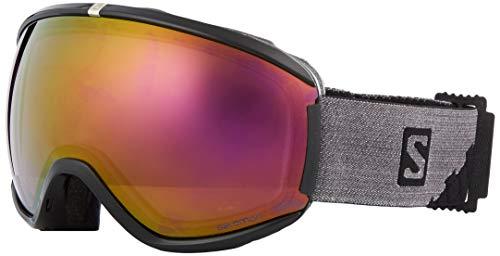 Salomon Damen iVY Skibrille, für verschiedenste Wetterverhältnisse, violette Multilayer-Scheibe (auswechselbar), Custom ID-Passform, Airflow System, schwarz, L39905200