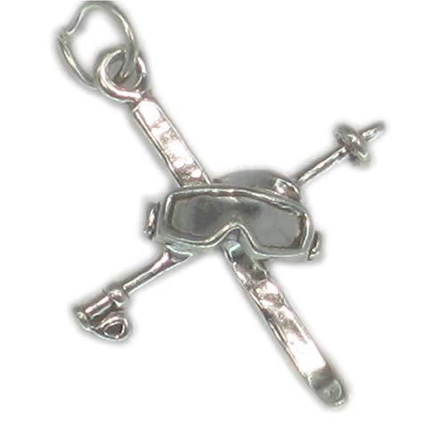 Malden Jewellery Charm-Anhänger Skistöcke und Skibrille Sterling-Silber 925 SSLP4168