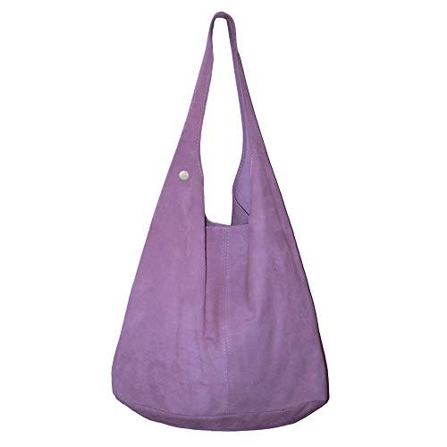 Dazoriginal Damen Ledertasche Shopper Wildleder Schultertasche Beuteltasche Bag