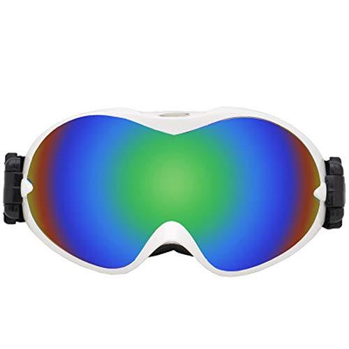 AUEDC Skibrille, Skibrille Skifahren Snowboard Winddichtes Brille mit OTG über Gläsern Winddichtes Anti-Fog Doppel-Objektiv für Männer Frauen,Grün