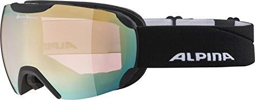 ALPINA Unisex - Erwachsene, PHEOS QVM Skibrille, black matt gold sph., One size
