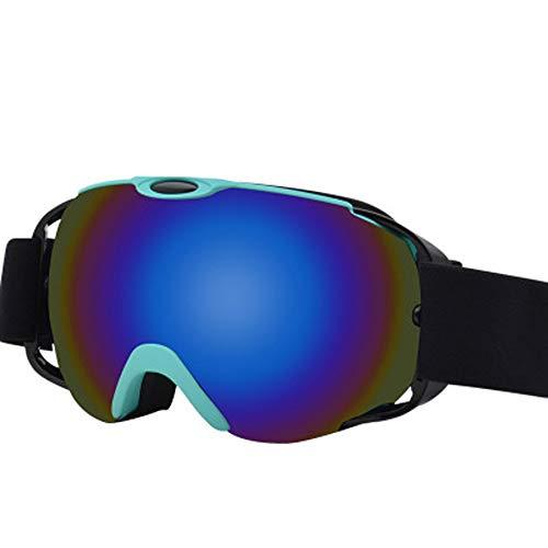 AUEDC OTG Skibrille, Männer und Frauen Ski Snowboard Goggles Skibrille UV-Schutz Winddichtes Anti-Fog-Doppelobjektiv für Männer & Frauen Outdoor Sports Erwachsene,Blau