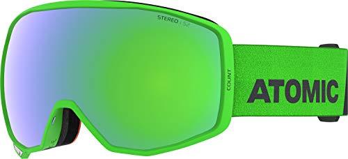 Atomic, All Mountain-Skibrille, Unisex, Für wolkiges bis sonniges Wetter, Medium Fit, Kompatibel mit Sehbrille, Count Stereo, Grün/Grün Stereo, AN5106048