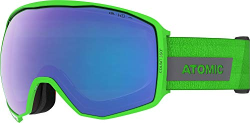Atomic, All Mountain-Skibrille, Unisex, Für wolkiges bis mäßig sonniges Wetter, Large Fit, HD-Technologie, Count 360° HD, Grün/Blau HD, AN5106020