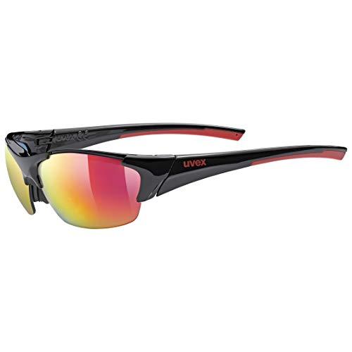 uvex Unisex– Erwachsene, blaze III Sportbrille, black red, one size