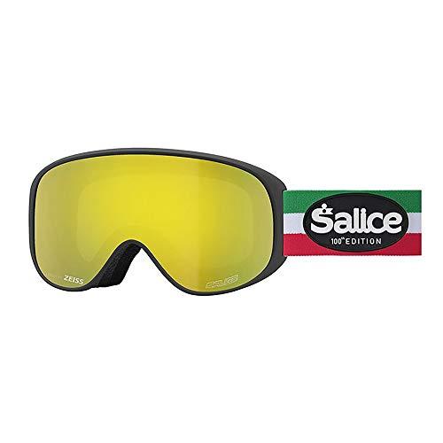 Salice 100ITAED Skibrille SR Schwarz Italien Doppelte Anti-Fog Rainbow Gelb Unisex Erwachsene, Einheitsgröße