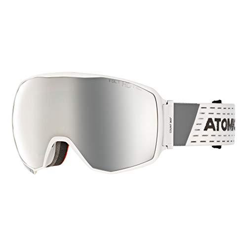 Atomic Unisex All Mountain-Skibrille Count 360° HD, für mäßiges bis starkes Licht, Large Fit, Sphärische FDL-Doppelscheibe, HD-Technologie, weiß/silber HD, AN5105618