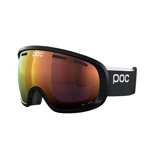 POC Fovea Clarity - Skibrille für Skifahrer und Snowboarder mit großen Sichtfeld für den täglichen Einsatz in den Bergen, Uranium Black/Spektris Orange
