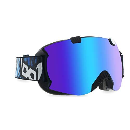gloryfy Unbreakable (GP4 Mexifin by Heikki Sorsa) - Unzerbrechliche Skibrille, Snowboardbrille, Herren, Damen, Winter, Blau-Verspiegelte Gläser, Wechselglas