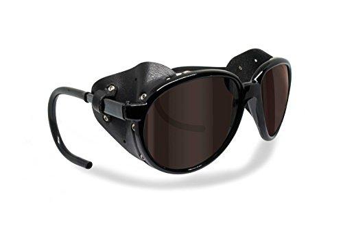 BERTONI Polarisierte Bergbrille Gletscherbrille Bergsteigerbrille Skibrille Trekking mod. Cortina Sonnenbrille - Glänzend Schwarz (Braun - Polarisiert)
