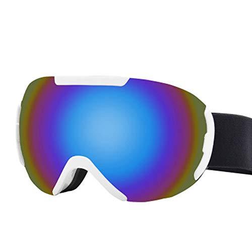 Skibrille für Erwachsene, neueste Skibrillen Snowboardbrillen für Erwachsene Winddichtes Anti-Fog Anti-Glare UV-Schutz-Doppelobjektiv für Erwachsene Professionelle Snowmobile Skate Skifahren,Blau