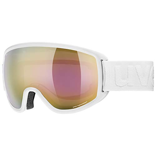 Uvex Unisex– Erwachsene Topic FM Sphere Skibrille, White mat/Gold-Clear, one Size
