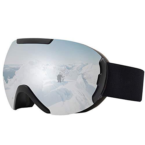 Skibrille für Erwachsene, neueste Skibrillen Snowboardbrillen für Erwachsene Winddichtes Anti-Fog Anti-Glare UV-Schutz-Doppelobjektiv für Erwachsene Professionelle Snowmobile Skate Skifahren,Silber