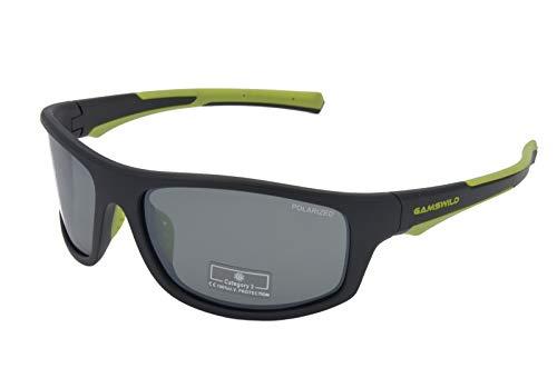 Gamswild WS2238 Sonnenbrille Sportbrille Skibrille Fahrradbrille Damen Herren Unisex | blau-orange | schwarz-rot | schwarz-grün, Farbe: schwarz/grün