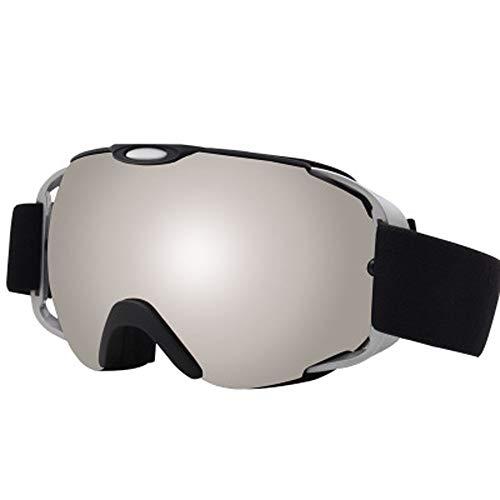 AUEDC OTG Skibrille, Männer und Frauen Ski Snowboard Goggles Skibrille UV-Schutz Winddichtes Anti-Fog-Doppelobjektiv für Männer & Frauen Outdoor Sports Erwachsene,Silber