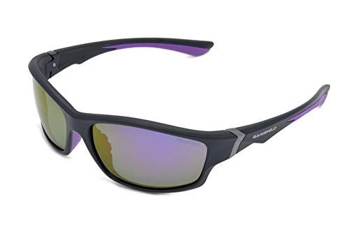 Gamswild WS6036 Sonnenbrille Sportbrille Skibrille Fahrradbrille Damen Herren Unisex   blau   lila   rot, Farbe: Schwarz/Lila