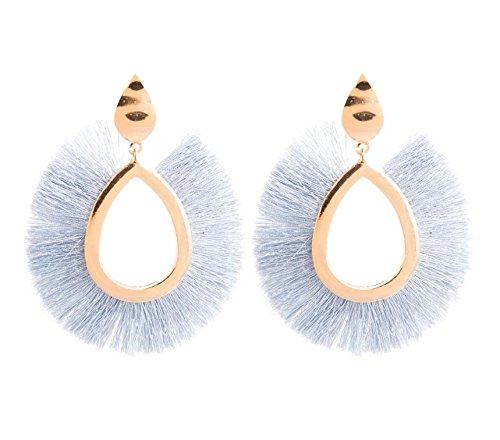 Pnizun F?cherf?rmig Ethnische Bohemian Lange Quaste Silk Ohrringe Metalllegierung Statement Ohrringe Weinlese-Bolzen-Ohrring-Frauen [Grau]