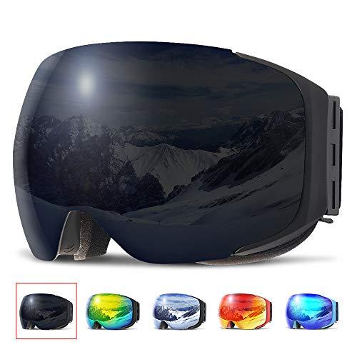 Copozz Ski-/Snowboardbrille für Damen/Herren und Jugendliche mit austauschbarem Glas mit Magnetbefestigung, auch über Sehbrillen und mit Helm zu tragen, G2 Black Frame/Revo Black Lens(VLT 13%)