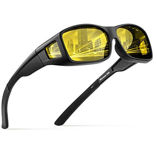 Bloomoak Fit über Brille, über Brille, 100% UV-Schutz Blendfreie Sonnenbrille Rundum-TR90-Rahmen für Männer und Frauen (Gelb)