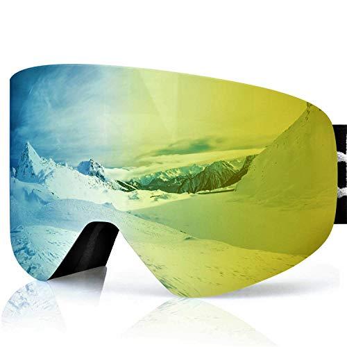 devembr Skibrille für Brillenträger Herren & Damen, Magnetische Austauschbare Snowboardbrille, Anti Fog, UV-Schutz, Helmkompatible, Schneebrille für Skifahren Snowboard (Gold Linse, VLT 21%)