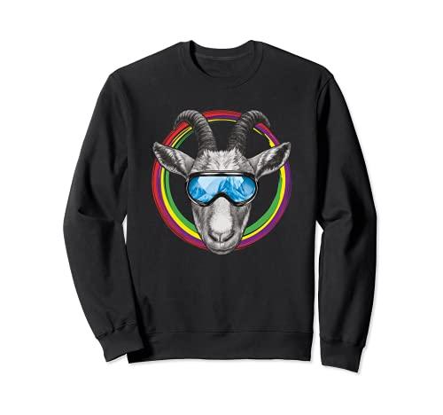 Lustige Ziege mit Skibrille im bunten Farbkreis Sweatshirt
