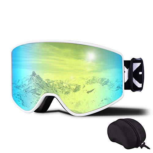 Skibrille für Damen Herren Winddicht Anti-Nebel Snowboardbrille Doppellinse UV400-Schutz OTG Ski Snowboard Brillen Helmkompatible Schneebrille für Winter Skifahren Skaten