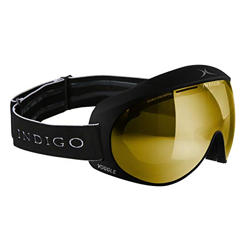 Indigo Voggle Ski-Brille Mirror Gold   Slim Fit   Schwarz   Ski & Snowboard Brille   Hochwertige Qualität