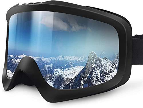 Karvipark Skibrille, Ski Snowboard Brille Brillenträger Schibrille Verspiegelt, Doppel-Objektiv OTG UV-Schutz Anti Fog Snowboardbrille Damen Herren Kinder für Skifahren Snowboard
