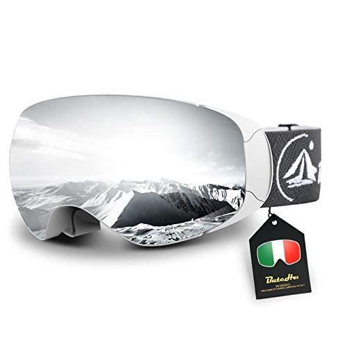 But Her Skibrille für Herren Damen und Jugend,Magnetische Wechsellinse,OTG Schneebrille mit Anti-Nebel und UV-Schutz,Helmkompatible und Blendfreie Snowboardbrille für Brillenträger