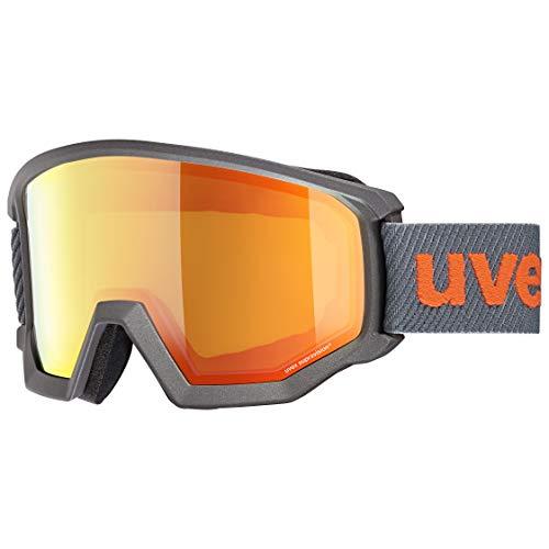 uvex Unisex-Erwachsene Athletic FM Skibrille, anthracite/orange-orange, Einheitsgröße