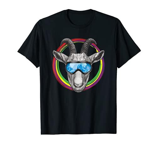 Lustige Ziege mit Skibrille im bunten Farbkreis T-Shirt
