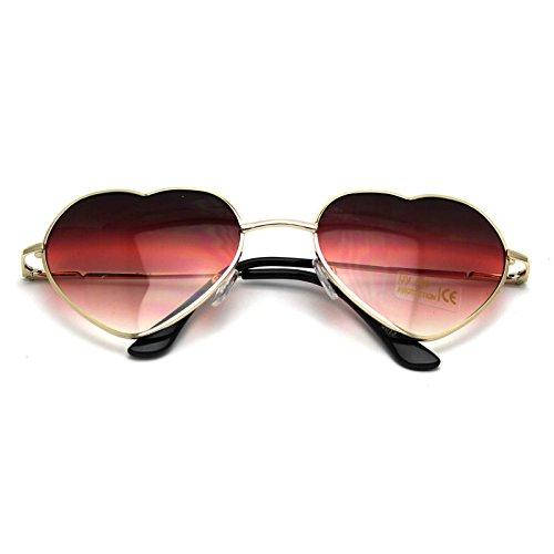 HuntGold 1 × Große Übergröße Damen Herz Form Sonnenbrille Modisch Niedlich Brille Sport- und Skibrillen (Rot)