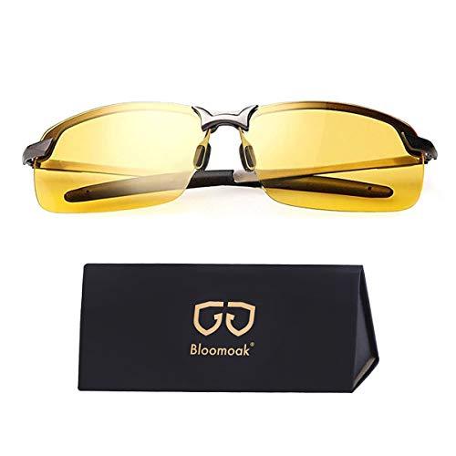 Bloomoak Nachtfahrbrille fahren | nachtbrille zum autofahren | HD Halbrand | Polarisiert | Ultra Light Metall (Nachtsichtbrille)