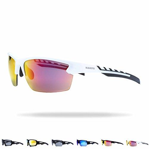 NAKED Optics Sports Sunglasses (RUSH Halfframe White/Lens Red)