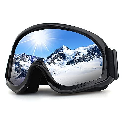 trounistro Skibrille, Antibeschlag und UV-Schutz Ski Goggles Snowboardbrille für Brillenträger, Helmkompatible Motocrossbrille für Herren Damen Teens (Silber)