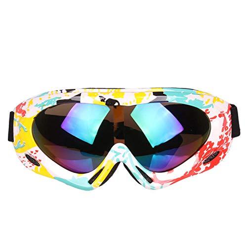 Radfahren Snowboard Wandern Augenschutz,Bunte Skibrille für Kinder Einschichtige professionelle Schneebrille Windspiegel-C.