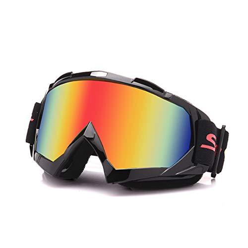 Galatée Motorradbrillen Hochwertige Skibrille Anti Fog UV Schutzbrille für Outdoor Aktivitäten Skifahren Radfahren Snowboard Wandern Augenschutz UV400 (Schwarze Rahmen-Mehrfarbig Linse)