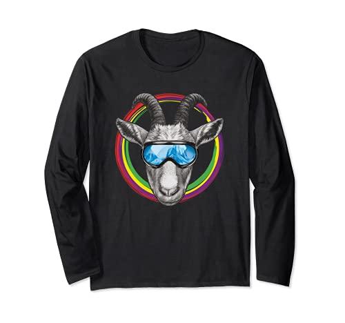 Lustige Ziege mit Skibrille im bunten Farbkreis Langarmshirt