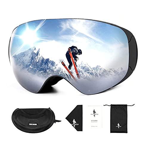 FREE SOLDIER Skibrille für Herren und Damen Antibeschlag OTG Snowboardbrille mit Abnehmbarer Linse Winter Magnetische Rahmenlose Skibrille für Brillenträger mit 100% UV400-Schutz(Silber-14% VLT)