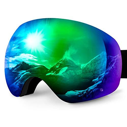 Karvipark Skibrille, Ski Snowboard Brille Brillenträger Schibrille Verspiegelt, Doppel-Objektiv OTG UV-Schutz Anti Fog Snowboardbrille Damen Herren Kinder für Skifahren Snowboard (Grün VLT10%)