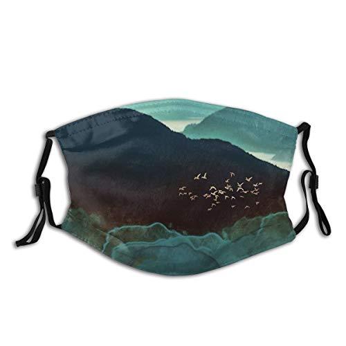 TopBABYYING Indigo Mountains Throw Pillow Balaclava Face Mask Ski Mask Hat Neck Gaiter Headwear for Women Men5 PCS