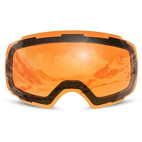 Odoland Skibrille Ski Scheibe Skibrille mit austauschbarer magnetische Schbeibe Orange(geeignet Skibrille)