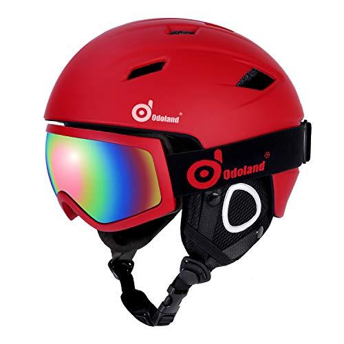Odoland Skihelm und Skibrille Set, Snowboardhelm mit Snowboardbrille für Erwachsene und Kinder, Schneebrille UV 400 Schutz Windwiderstand Snowboard Brille zum Skifahren und Bergsteigen Rot M-54-56cm