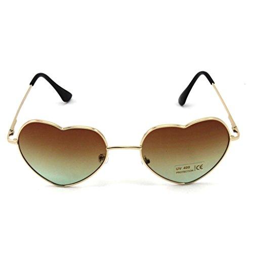 HuntGold 1 × Große Übergröße Damen Herz Form Sonnenbrille Modisch Niedlich Brille Sport- und Skibrillen (braun)