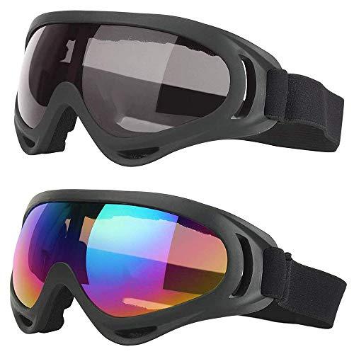 Lepidi 2 Stücke Skibrille für Kinder, Schneebrille zum Skifahren, UV-Schutz Anti-Fog-Skibrille, Einstellbar Windschutz UV-Schutz PC Skibrille für Die Tägliche Freizeit, Skifahren, Surfen (Bunt, Grau)