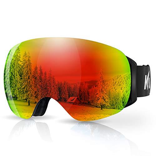 KUYOU Skibrille Ski Goggles Snowboardbrille Doppel-Objektiv Anti-Fog Rahmenlose OTG UV400 Schutz Schneebrille Helmkompatible Magnetisch Wechselobjektive Brille