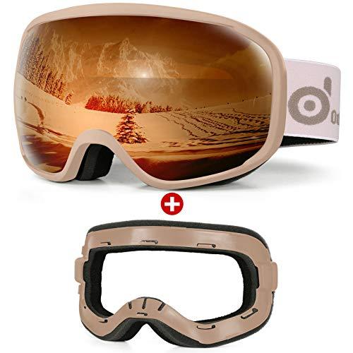 Odoland Skibrille Snowboardbrille für Damen und Herren Jungen Anti-Fog UV-Schutz mit Ersatzschwamm Helmkompatible Für Brillenträger zum Snowboard Skifahren Brauner Rahmen/Braune Linse