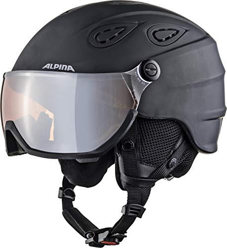 ALPINA Unisex - Erwachsene, GRAP VISOR 2.0 Q-LITE Skihelm, black matt, 57-61 cm